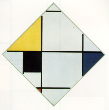 Lozenge Composition with Yellow, Black, Blue, Red and Grey (1921)